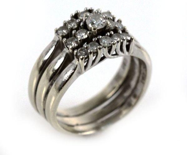 LADIES 14K WHITE GOLD DIAMOND WEDDING SET