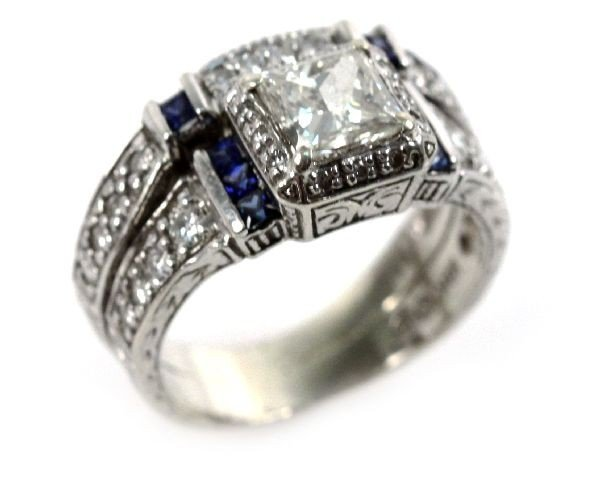 LADIES 18K DIAMOND & SAPPHIRE WEDDING SET 1.6 CTW