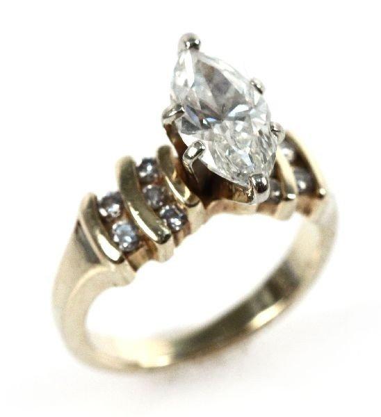 LADIES 14K GOLD DIAMOND MARQUIS SOLITAIRE 1.91 CTW
