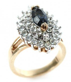 LADIES 18K SAPPHIRE AND DIAMOND RING
