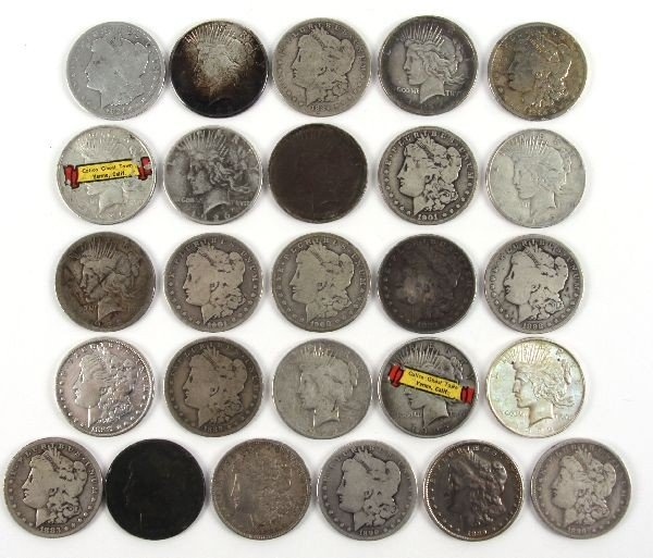MORGAN PEACE SILVER DOLLAR LOT OF 26 CULLED COINS