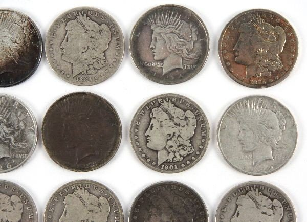 MORGAN PEACE SILVER DOLLAR LOT OF 26 CULLED COINS - 3