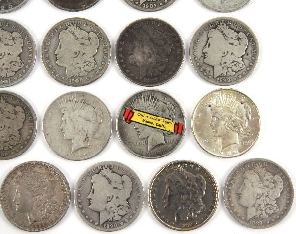 MORGAN PEACE SILVER DOLLAR LOT OF 26 CULLED COINS - 4