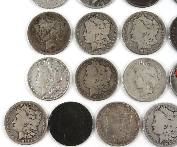 MORGAN PEACE SILVER DOLLAR LOT OF 26 CULLED COINS - 5