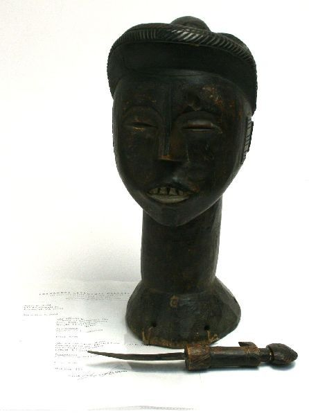AFRICAN HEADDRESS AND KNIFE