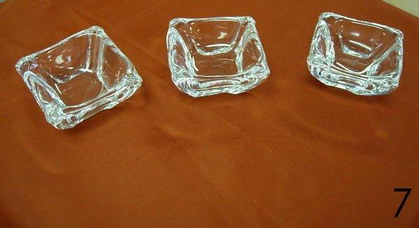 7: DAUM FRANCE HAND BLOWN CLEAR GLASS NUT DISH LOT 3