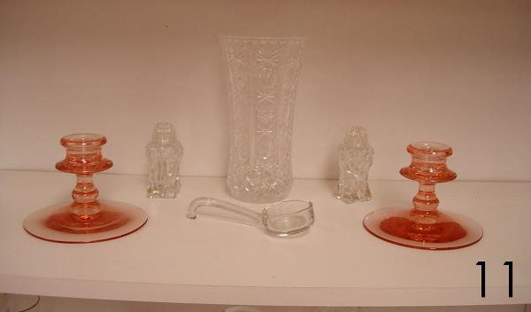 11: ANTIQUE GLASS LOT OF 6 PINK DEPRESSION GLASS CANDLE