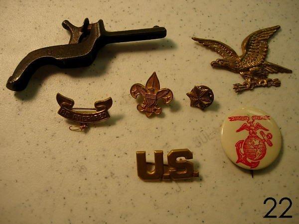 22: USMC PIN BACK ANTIQUE CAP GUN BOY SCOUT EAGLE LOT M