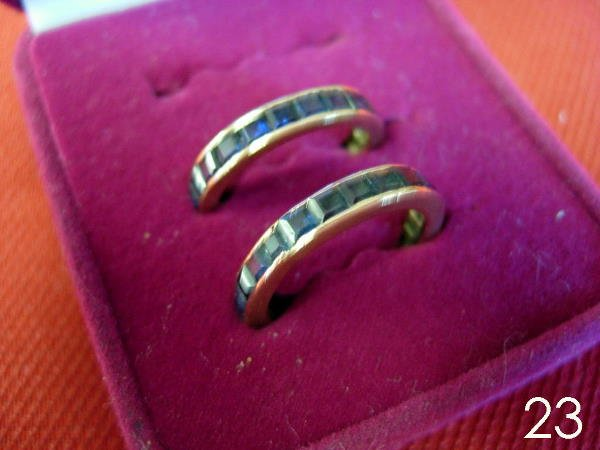 23: GOLD SAPPHIRE BAND SET OF 2 RINGS ETERNITY BANDS