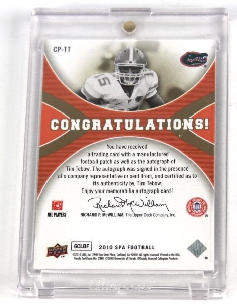 TIM TEBOW COLLEGE PRIDE SP AUTOGRAPH PATCH UPPER D - 2