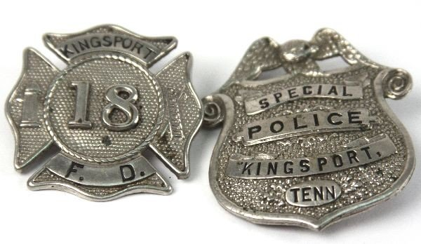 KINGSPORT TN FIRE AND POLICE BADGES