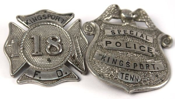KINGSPORT TN FIRE AND POLICE BADGES - 2