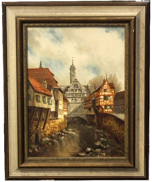 SIGNED 1935 SAMBERGER OIL ON BOARD PAINTING