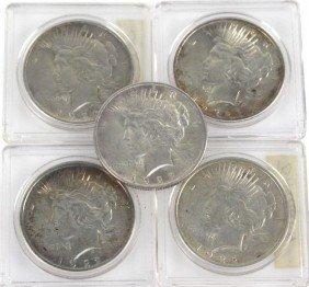 5 BU SILVER PEACE DOLLARS 1922 & 1923