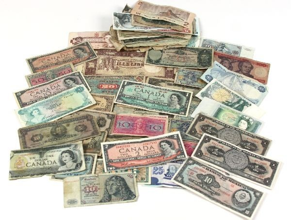 60+ PIECES OF MPC & WORLD BANK NOTES CURRENCY