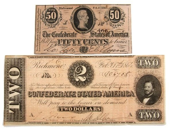 CONFEDERATE STATES CURRENCY LOT FRACTIONAL & NOTE