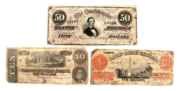 CONFEDERATE STATES & OBSOLETE NOTE LOT OF 3