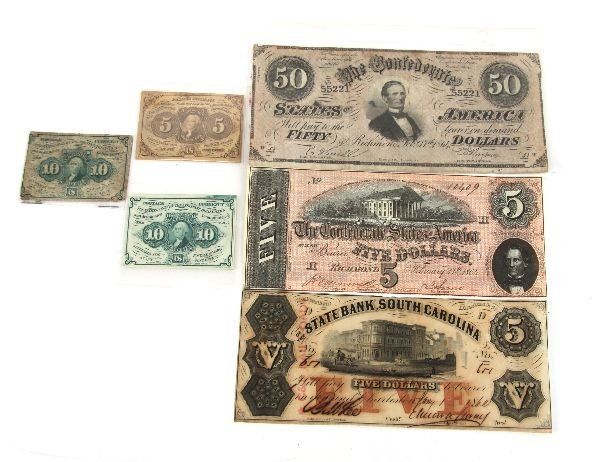CONFEDERATE STATES FRACTIONAL & OBSOLETE NOTE LOT