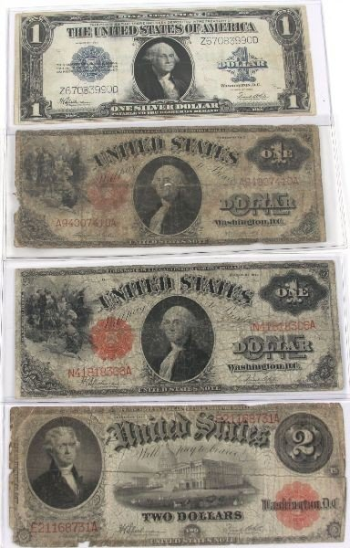 LARGE SIZE CURRENCY LOT SILVER CERTIFICATE US NOTE