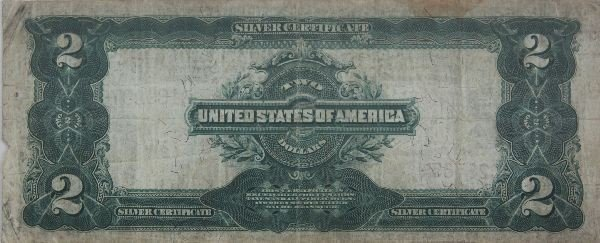 LARGE SIZE NOTE SILVER CERTIFICATE $2 1899 SERIES