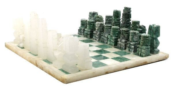 HAND CARVED MEXICAN ONYX CHESS SET