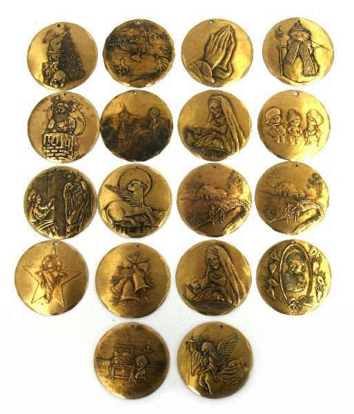 SET OF 18 BRONZE HANDMADE ORNAMENTS BY NATALE