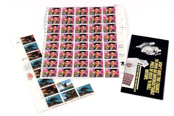 A MINT ELVIS STAMP SHEET AND MORE