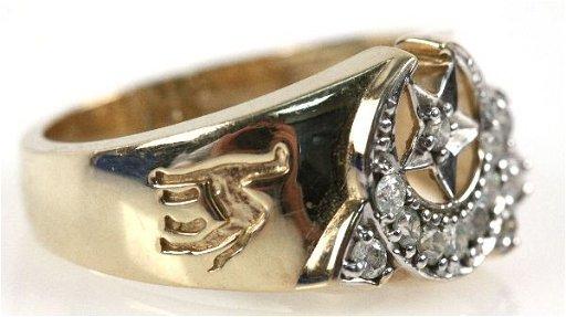 MENS 10K GOLD & DIAMOND SHRINERS RING