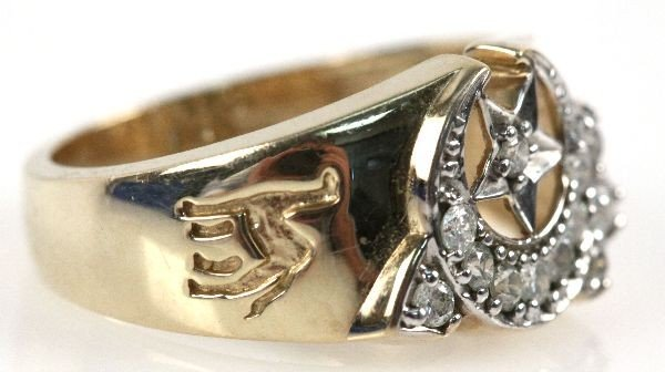 MENS 10K GOLD & DIAMOND SHRINERS RING