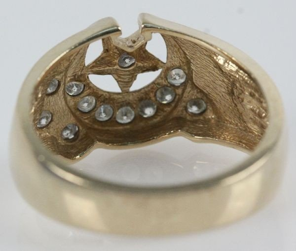 MENS 10K GOLD & DIAMOND SHRINERS RING - 4