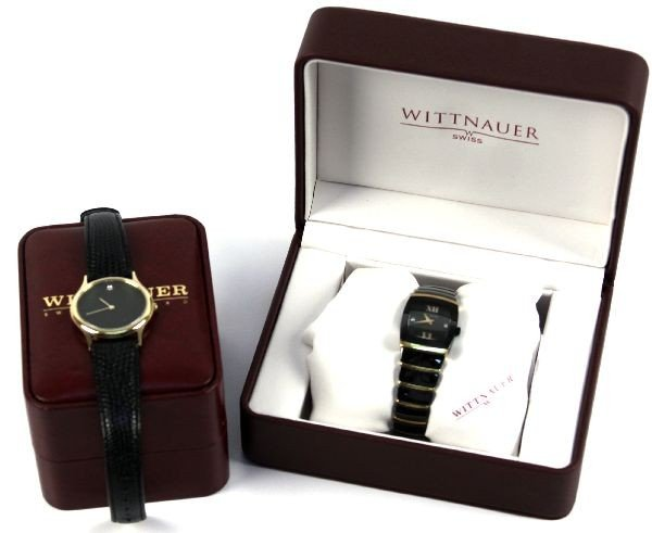 WITTNAUER MEN'S BLACK CERAMIC SS DIAMOND WATCH