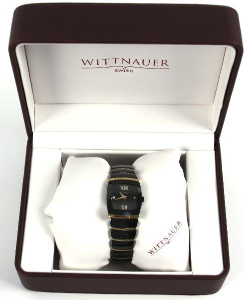 WITTNAUER MEN'S BLACK CERAMIC SS DIAMOND WATCH - 3