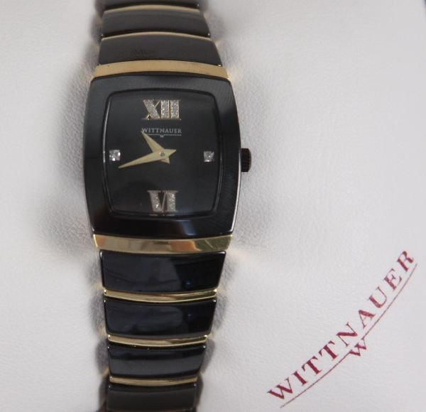 WITTNAUER MEN'S BLACK CERAMIC SS DIAMOND WATCH - 4