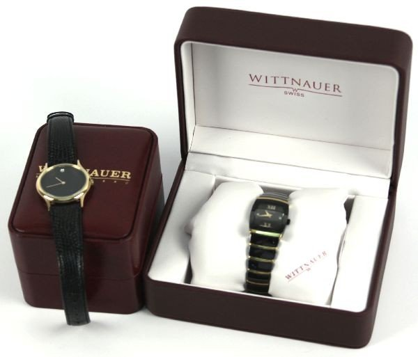 WITTNAUER MEN'S BLACK CERAMIC SS DIAMOND WATCH - 5