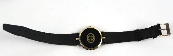 LADIES GUCCI WATCH WITH BLACK LEATHER BAND - 4