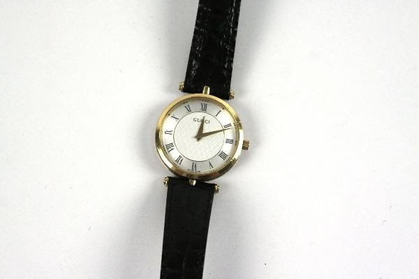 LADIES GUCCI WATCH WITH BLACK LEATHER BAND - 5