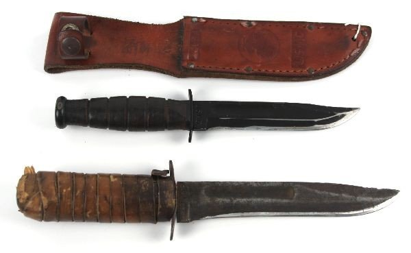 USMC KA BAR & WW2 USN MK2 FIGHTING KNIFE LOT - 2