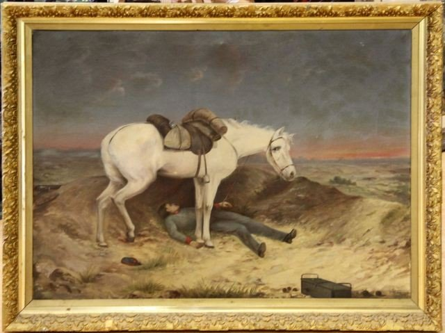 SIGNED 19TH CEN CIVIL WAR BATTLEFIELD OIL PAINTING