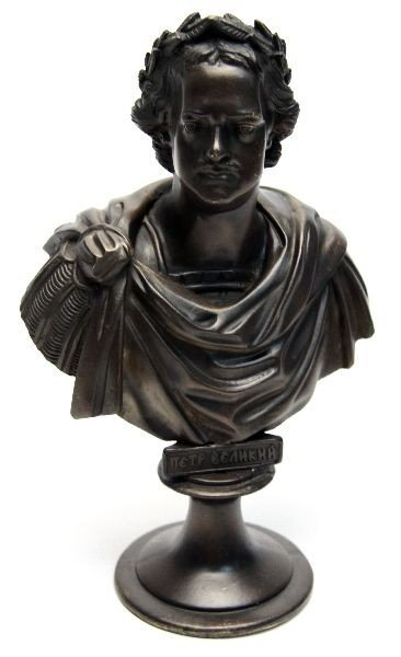 BRONZE BUST OF PETER THE GREAT OF RUSSIA