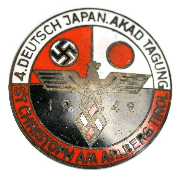 RARE WWII NAZI JAPAN 1942 HITLER YOUTH UNITY BADGE