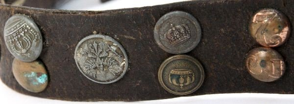 WWI GERMAN HATE BELT 36 BUTTONS SOME SCARCE - 4
