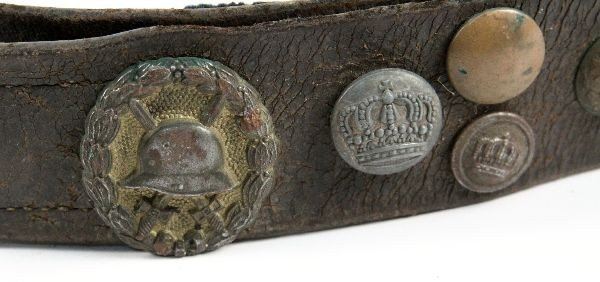WWI GERMAN HATE BELT 36 BUTTONS SOME SCARCE - 5
