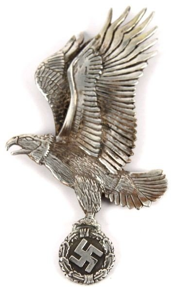 GERMAN EAGLE WITH SWASTIKA PENDANT IN 800 SILVER