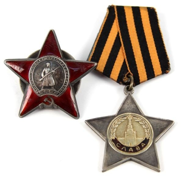SOVIET RUSSIAN WWII MEDALS RED STAR AND GLORY