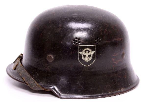WWII GERMAN DOUBLE DECAL FIRE POLICE HELMET - 2