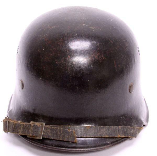 WWII GERMAN DOUBLE DECAL FIRE POLICE HELMET - 4