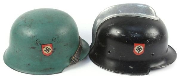 2 WWII GERMAN FIRE POLICE DOUBLE DECAL HELMETS