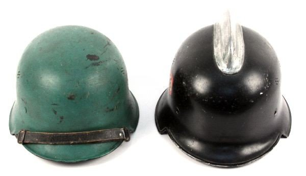2 WWII GERMAN FIRE POLICE DOUBLE DECAL HELMETS - 2