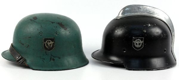2 WWII GERMAN FIRE POLICE DOUBLE DECAL HELMETS - 3