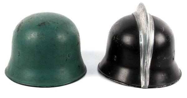2 WWII GERMAN FIRE POLICE DOUBLE DECAL HELMETS - 4